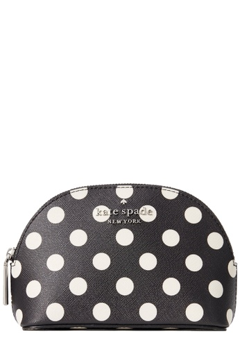 Kate Spade black Kate Spade Staci Picture Dot Small Dome Cosmetic Pouch in Black Multi 8B40AACF01BC6DGS_1