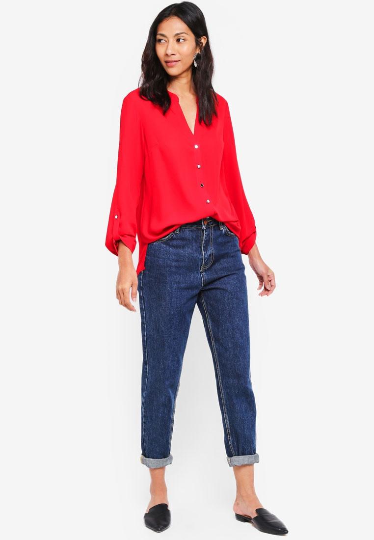 Dorothy Sleeve Perkins Red Shirt Roll Red rZqw7HrU
