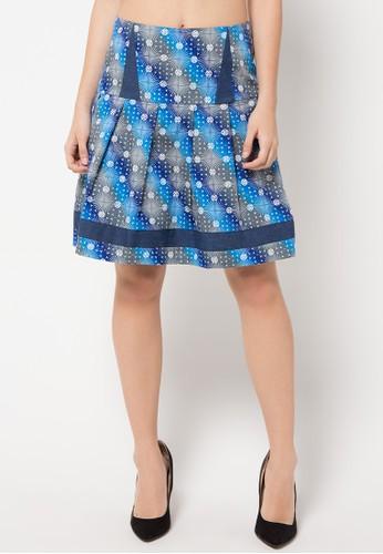 Bateeq blue Printed Regular Mix Denim Skirt BA656AA05LICID_1