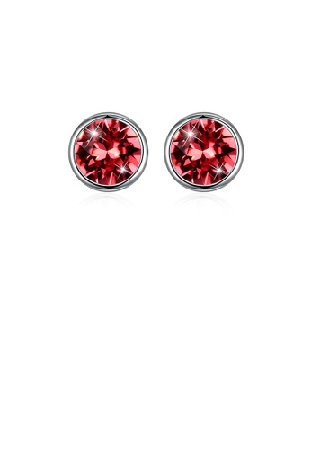 Glamorousky pink 925 Sterling Silver Simple Round Earrings with Pink Austrian Element Crystal 0AB3AACC746934GS_1