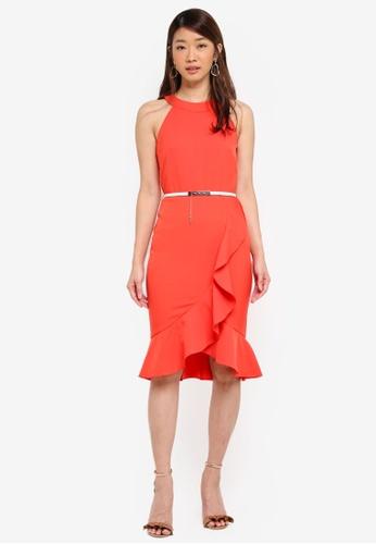 Paper Dolls orange High Neck Ruffle Dress With Cream Belt 3683DAA0F274C4GS_1