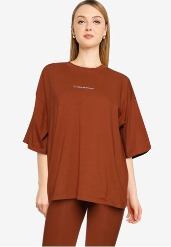 Public Desire brown Plus Size Graphic T-Shirt DC10CAAFA59288GS_1