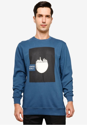 !Solid navy Lake Graphic Print Sweatshirt 40CF6AAB105D62GS_1
