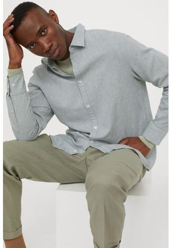 H&M green Linen-blend shirt Slim Fit A1006AA6EEAE89GS_1
