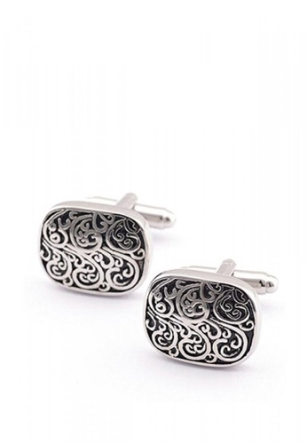 Kings Collection silver Silver and Black Rectangle Cufflinks KI877AC0KFEOPH_1