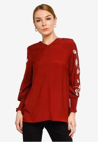 Gene Martino red Floral Insert Muslimah Top F8CC7AAB461002GS_1