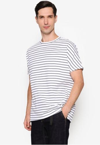 URBAN REVIVO white Stripe Casual T-Shirt C9A93AAC5D891FGS_1