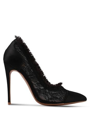 Velvet black Lace Detail Heels C2AD1SH53BDDADGS_1
