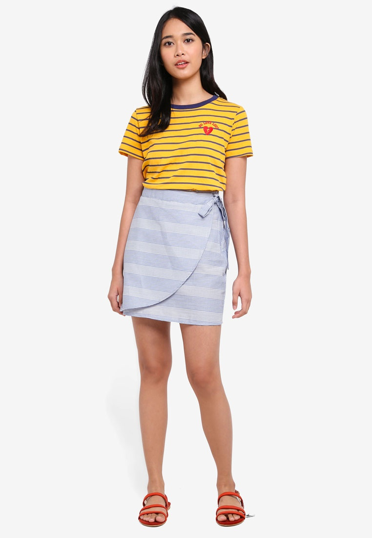 Blue Hanna Mel Woven Skirt Mini Stripe On Cadet Wrap Cotton R4xqOg7