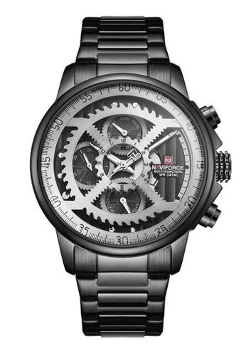 Naviforce black Naviforce Silver and Black Stainless Steel Watch F3008ACEAAE584GS_1