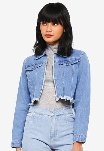 Something Borrowed blue Cropped Frayed Denim Jacket 4B050AA9CC323DGS_1