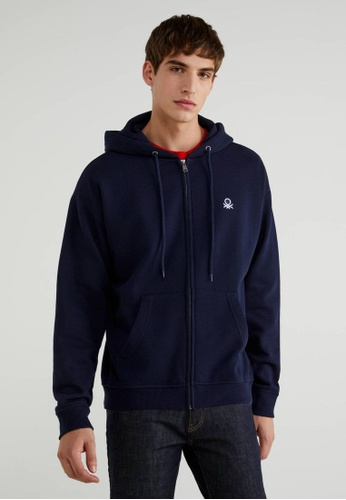United Colors of Benetton navy Hoodie with Pockets 76B59AA0FD2EC9GS_1