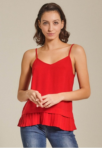 Dressing Paula red Pleated Crepe Camisole 5A034AA35DDF59GS_1