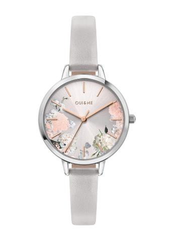 Oui & Me grey Petite Fleurette Quartz Watch Light Gray Leather Strap ME010098 D73ACAC29A4A91GS_1