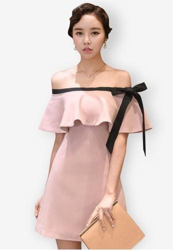 Sunnydaysweety pink Off Shoulder Flounce One Piece Dress 3A1DFAAB0F75C7GS_1