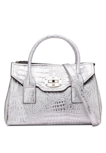 Perllini&Mel silver Faux Metallic Leather Top Handle Satchel PE444AC0S32MMY_1