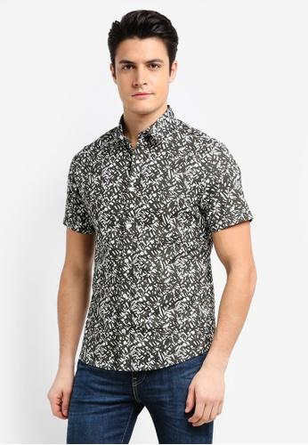 Burton Menswear London green Khaki Short Sleeve Abstract Leaf Print Shirt D949BAA8E7B9C5GS_1