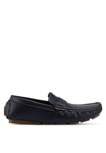 UniqTee 藍色 Driving Shoes with Elastic Web C3C36SH3189C96GS_1