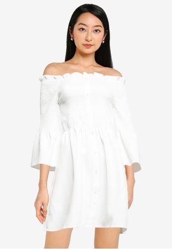 ZALORA BASICS white Off Shoulder Smocked Dress FC4DDAAC2618C3GS_1