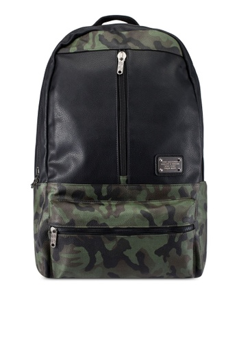 High Cultured black and green Leather Backpack HI002AC0S1X0MY_1