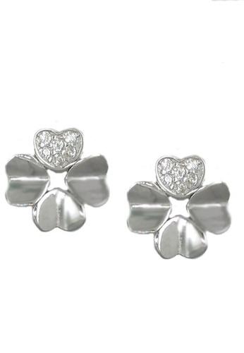 LYCKA silver LFF5227-LYCKA-S925 Siliver White Zircon Clover Earrings-Silver 64E8FAC64B6265GS_1