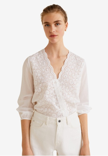 Mango white Embroidered Openwork Blouse B58A3AA9735DCFGS_1