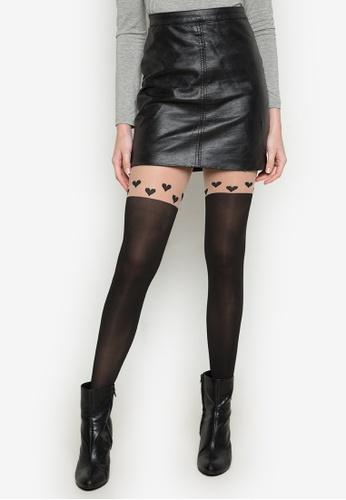 Chase Fashion black Pantyhose Heart Design CH547US0K8H7PH_1