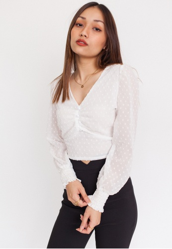Hook Clothing white Button Embossed Blouse 4E991AAE551C0EGS_1