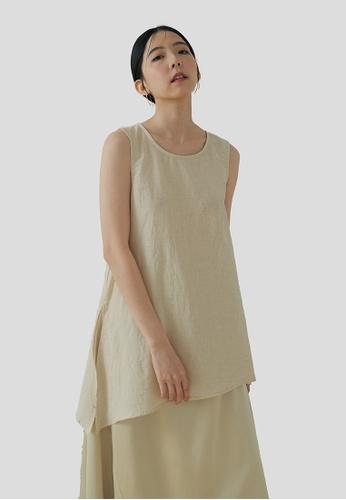We Enjoy Simplicity beige Yoto Sleeveless Linen Slant Top (Natural) C4F6AAADA40C65GS_1