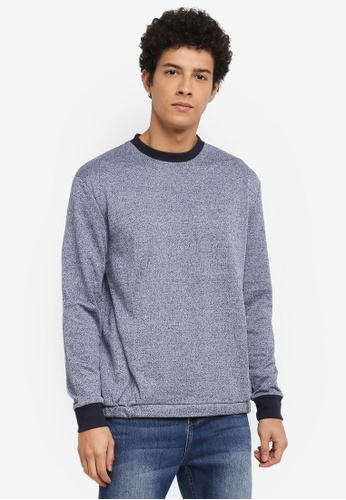 Penshoppe blue Relaxed Fit Paneled Sweatshirt 9FF7EAA5FF8F61GS_1