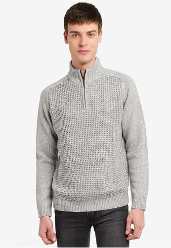 Burton Menswear London grey Grey Zip Jumper BU964AA0SD2BMY_1