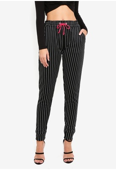 34dd0916198aaa MISSGUIDED black Mb X Mg Pinstripe High Waisted Joggers 46926AA385BBA8GS_1