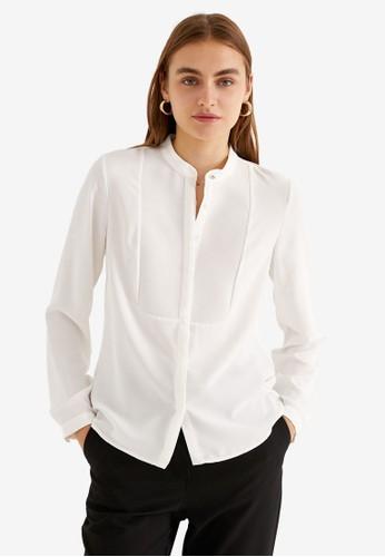 KOTON white Mandarin Collar Shirt 564D1AADE963D7GS_1