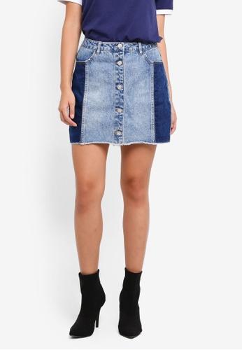 MISSGUIDED blue Contrast Side Panel Denim Mini Skirt EC7DDAA7733C59GS_1