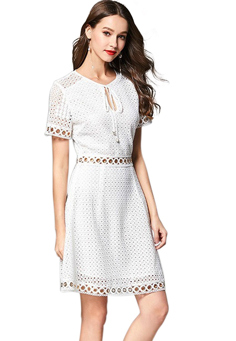 White Anglaise Broderie Piece New 2018 White Dress Lace Sunnydaysweety CA062936W One TaxRPqvn