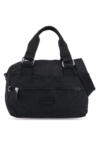 Bagstationz black Crinkled Nylon Convertible Top Handle Bag 88482AC12B2833GS_1