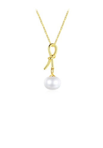 Glamorousky white 925 Sterling Silver Plated Gold Simple Fashion Ribbon Freshwater Pearl Pendant with Necklace 045D4AC888776FGS_1