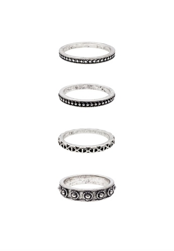 LUCCACAL 4 x Etched Geometric Ring Set LU294AC65FOSMY_1