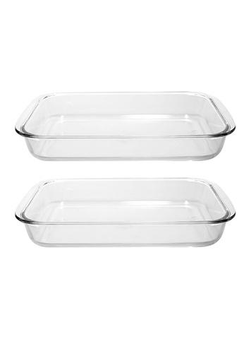 Slique n/a Premium Borosilicate Glass Baking Dish Microwave & Oven Safe 1.5L & 2L- 1500ML & 2000ML Baking Essentials Set of 2 8A725HL8992B31GS_1
