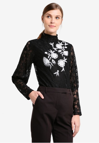 TOPSHOP black Embroidered Lace Blouson Sleeve Top TO412AA0T0VLMY_1