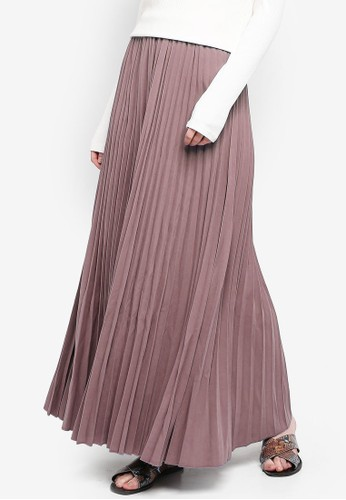 BYN pink Pleated Maxi Skirt 3081AAAB857CB9GS_1