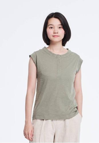 92e43fd72bbf2 so that s me green Henley and Cap Sleeve Slub Cotton Green T-shirt  96F4EAA14462FAGS 1