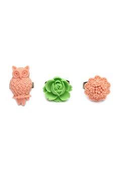 Set of 3 Flower Ring #14