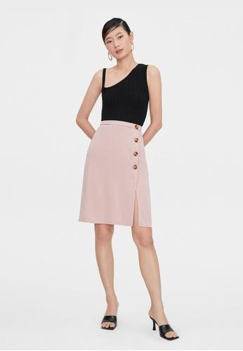 Pomelo pink Tortoise Side Button Skirt - Pink 556ADAAECE5808GS_1
