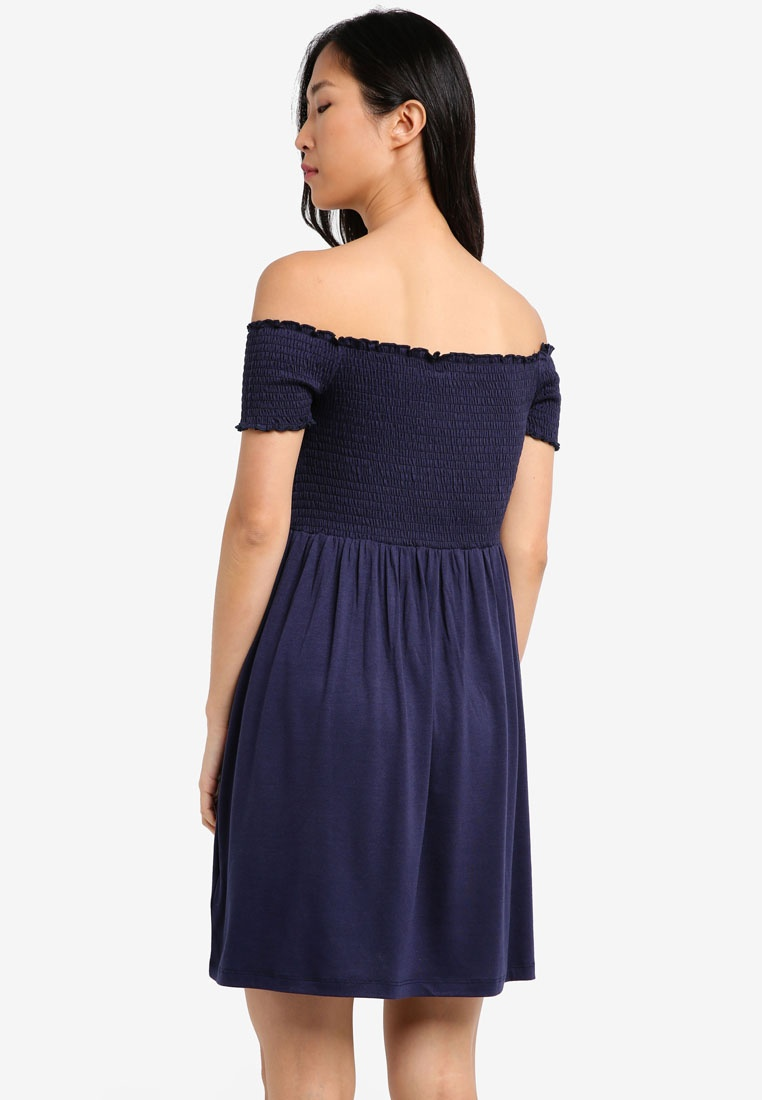 Smocked Dress Navy Essential Pack ZALORA 2 Burgundy BASICS RvHEax