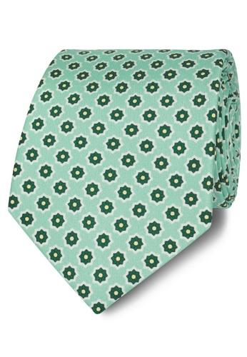 T.M. LEWIN green T.M.Lewin Green Geometric Flower Print Silk Tie FA4FBAC0FBFD21GS_1