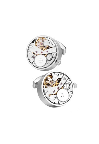Kings Collection silver Movement Watch Cufflinks 20798ACFDDC9E0GS_1