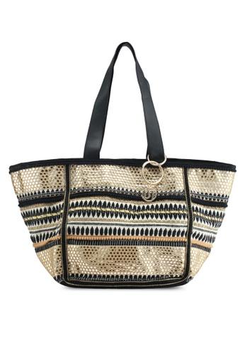 River Island black Embroidered Metallic Beach Bag F7242ACADDE3D7GS_1
