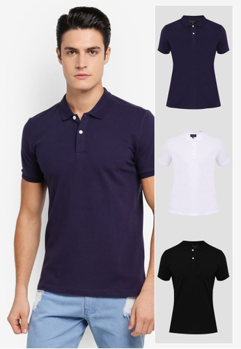 ZALORA black and white and navy 3 Pack Pique Button Down Polo Shirt ZA819AA0T27SMY_1