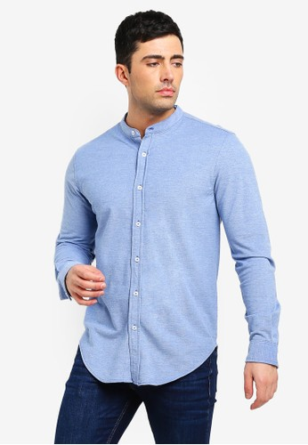 Brave Soul blue and multi Mandarin Collar Shirt 632F9AA8DB9839GS_1